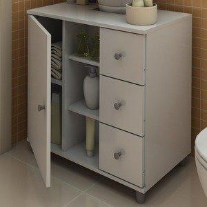 Gabinete para Banheiro com Gavetas Politorno Branco