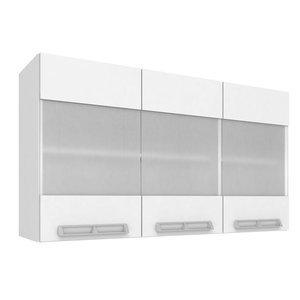 Armário Aéreo com 3 Portas de Vidro 1,20m Art in Móveis Mia Coccina Branco/Branco