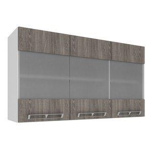 Armário Aéreo com 3 Portas de Vidro 1,20m Art in Móveis Mia Coccina Branco/Rústico