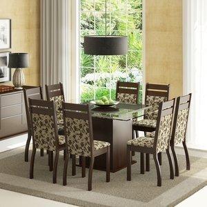Conjunto Sala de Jantar Mesa e 8 Cadeiras Louise Madesa Tabaco