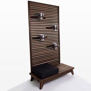 Jardineira Completa Zen (com almofada) Mão e Formão - Tecido 11078-91 Nogueira