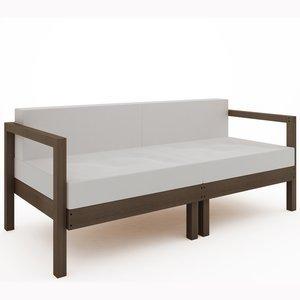 Sofá Lazy 2 lugares (com almofada) 01-237 Mão e Formão Nogueira