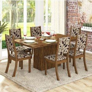 Conjunto para Sala de Jantar Mesa e 6 Cadeiras Viero Dulce Avelã/Medina