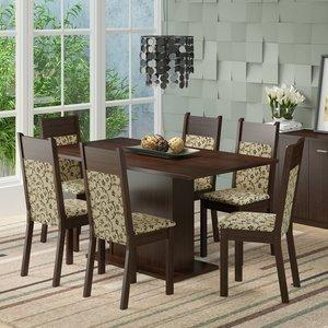 Conjunto Sala de Jantar Mesa 6 Cadeiras Louisiana Madesa Tabaco/ Florata Grafite