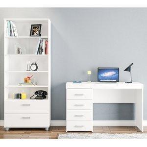 Conjunto para Escritório Mesa e Estante Adelaide Siena Móveis Branco