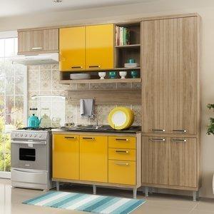 Cozinha Compacta 5144 Sicília Multimóveis (Não Acompanha Tampo) Argila/Amarelo Gema
