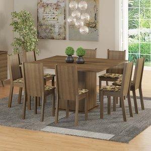 Conjunto Sala de Jantar Mesa e 8 Cadeiras Madesa Clarice Rustic/Bege/Marrom