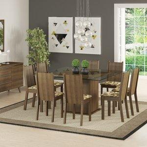Conjunto Sala de Jantar Mesa e 8 Cadeiras Camila Madesa Rustic/Bege/Marrom