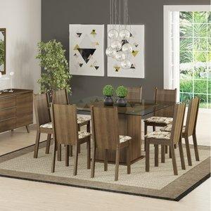 Conjunto Sala de Jantar Mesa e 8 Cadeiras Camila Madesa Rustic/Lirio Bege