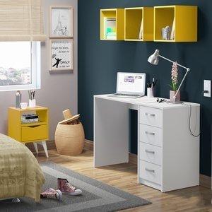 Conjunto Home Office Mash Madesa Branco/Amarelo
