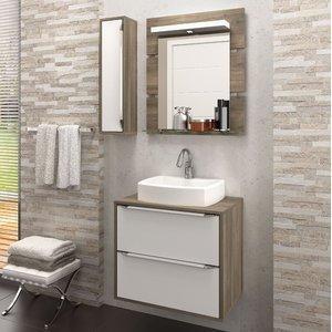Gabinete Suspenso para Banheiro com Espelheira Ravena 60 Balcony (Não acompanha Cuba) Supremo/Merlot