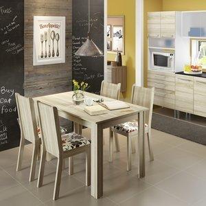 Conjunto de Mesa com 4 Cadeiras Rosie Madesa Acácia/Hibiscos