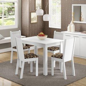 Conjunto Sala de Jantar Mesa e 4 Cadeiras Rute Madesa Branco/Cacau
