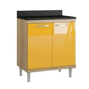Balcão 2 Portas 70cm 5122 Sicília Multimóveis Argila/Amarelo Gema