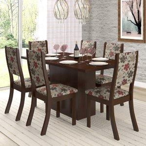 Conjunto Sala de Jantar Mesa e 6 Cadeiras Cereja Viero Choco/Passion
