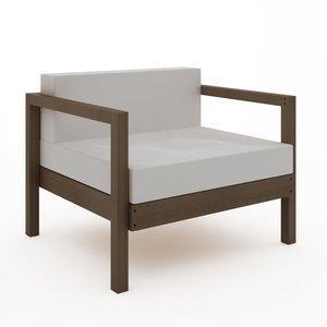 Sofá Componível Lazy - 1 Lugar (almofadas não acompanham o produto) Nogueira