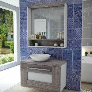 Gabinete para Banheiro com Espelheira Verona (Não Acompanha Cuba e torneira) Celta Móveis Nogal Gris/Branco