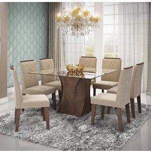 Conjunto Sala de Jantar Mesa Tampo em Vidro Andreia 8 Cadeiras Nicole Cimol Marrocos/Suede Bege