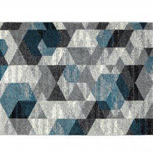 Tapete Retangular Hannes Corttex 2,50mx2,00m Cinza/Azul/Preto