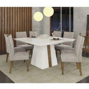 Conjunto Sala de Jantar Mesa Tampo em Vidro 8 Cadeiras Golden Itália Dj Móveis Branco/Demolição