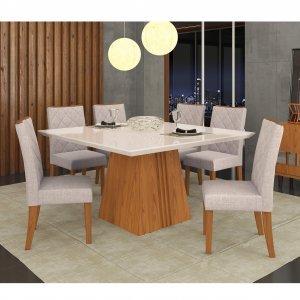 Conjunto Sala de Jantar Mesa Tampo em Vidro 8 Cadeiras Golden Itália Dj Móveis Carvalho Americano/Linho Claro