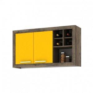 Armário Aéreo de Cozinha 2 Portas e Nicho Style Fellicci Naturalle/Amarelo
