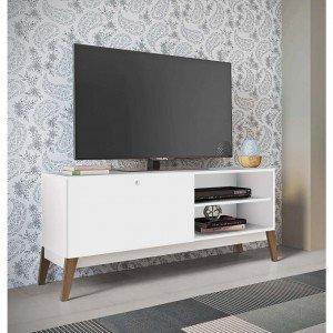 Rack para TV até 55 Polegadas 1 Porta de Correr 0806 Retrô Genialflex Branco
