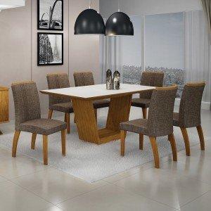 Conjunto Sala de Jantar Mesa Tampo MDF/Vidro 6 Cadeiras Linho Alemanha Leifer Flex Color Imbuia Mel/Branco/Borda Imbuia Mel