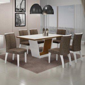 Conjunto Sala de Jantar Mesa Tampo MDF/Vidro 6 Cadeiras Linho Alemanha Leifer Flex Color Branco/Imbuia Mel