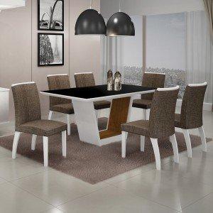 Conjunto Sala de Jantar Mesa Tampo MDF/Vidro 6 Cadeiras Linho Alemanha Leifer Flex Color Branco/Preto/Imbuia Mel