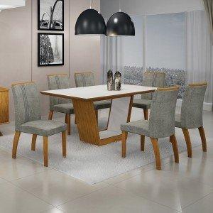 Conjunto Sala de Jantar Mesa Tampo MDF/Vidro 6 Cadeiras África Alemanha Leifer Flex Color Imbuia Mel/Branco/Borda Imbuia Mel
