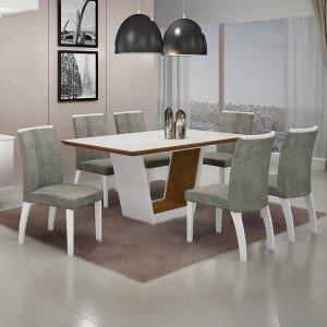 Conjunto Sala de Jantar Mesa Tampo MDF/Vidro 6 Cadeiras África Alemanha Leifer Flex Color Branco/Imbuia Mel/Borda Imbuia Mel