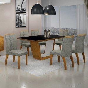 Conjunto Sala de Jantar Mesa Tampo MDF/Vidro 6 Cadeiras África Alemanha Leifer Flex Color Imbuia Mel/Preto/Borda Imbuia Mel