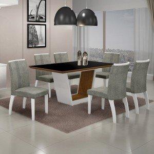 Conjunto Sala de Jantar Mesa Tampo MDF/Vidro 6 Cadeiras África Alemanha Leifer Flex Color Branco/Preto/Borda Imbuia Mel