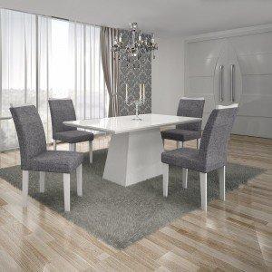 Conjunto Sala de Jantar Mesa Tampo MDF/Vidro Branco 4 Cadeiras Pampulha Leifer Branco/Linho Cinza