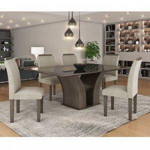 Conjunto Sala de Jantar Mesa Tampo MDF/Vidro Leblom 6 Cadeiras Pietra LJ Móveis Malbec