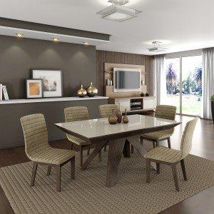 Conjunto Sala de Jantar Mesa Tampo MDF/Vidro 6 Cadeiras Evolution LJ Móveis Chocolate/Branco