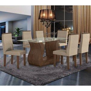 Conjunto Sala de Jantar Mesa Tampo em Vidro 6 Cadeiras Dafne Móveis Lopas Imbuia/Rinzai Bege