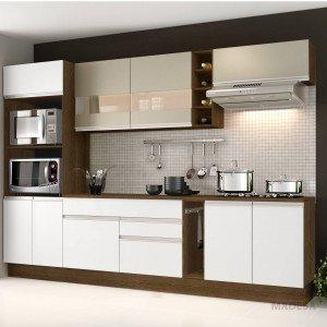 Cozinha Completa Vicenza Glamy Madesa Rustic/Branco/Bp Bronze