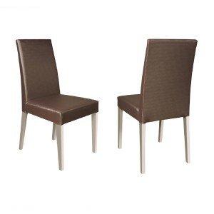 Conjunto 2 Cadeiras 4128 Madesa Branco/Marrom