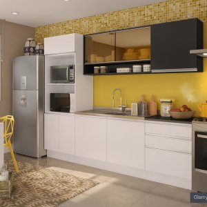 Cozinha Completa Angela Glamy Madesa Branco / Preto
