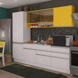 Cozinha Compacta Andressa Madesa Branco/ Amarelo