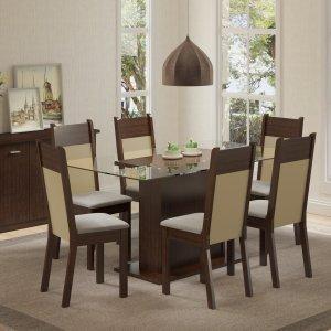 Conjunto Sala de Jantar Mesa 6 Cadeiras Atlanta Madesa Tabaco/Crema/Pérola