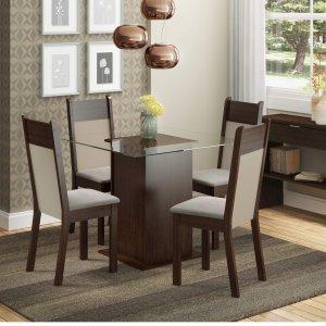 Conjunto Sala de Jantar Mesa 4 Cadeiras Miami Madesa Tabaco/Pérola
