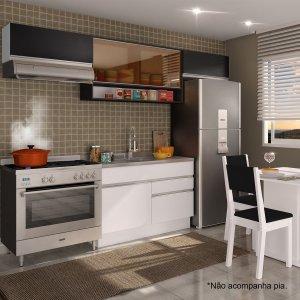 Cozinha Compacta Glamy Marina (Não acompanha Tampo e Pia) Madesa Branco/Ébano/Preto
