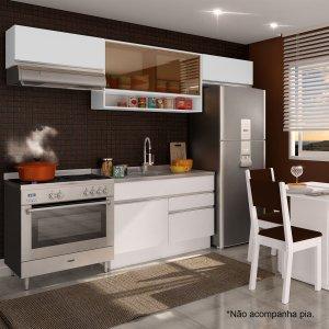 Cozinha Compacta Glamy Marina (Não acompanha Tampo e Pia) Madesa Branco