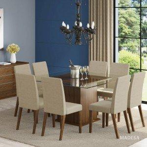 Conjunto Sala de Jantar Mesa e 8 Cadeiras Catharine Madesa Rustic/ Saara