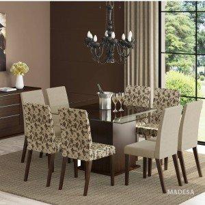 Conjunto Sala de Jantar Mesa e 8 Cadeiras Catharine Madesa Tabaco/ Saara/ Bege Marrom