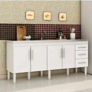 Balcão de Cozinha 4 Portas 194cm Roma MGM Móveis (Balcão Não Acompanha Tampo e Pia) Branco