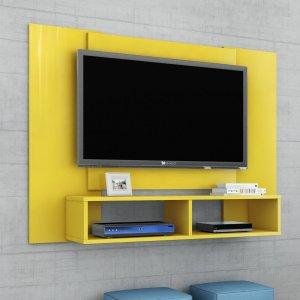 Painel para TV até 48 Polegadas 2 Nichos Navi Móveis Bechara Amarelo